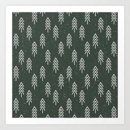Pine Trees . Olive Art Print