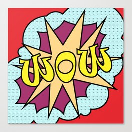 pop art text WOW for your design. Colorful vector Canvas Print