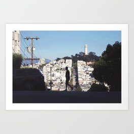 Silhouette from Near Lombard Looking Toward Coit Tower, San Francisco Art Print