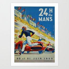 24hs Le Mans, 1959, vintage poster Kunstdrucke