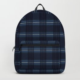 Indigo Blue Tartan Stripes Chequered Woven Backpack