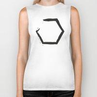hexagon Biker Tanks featuring White Hexagon by C Designz