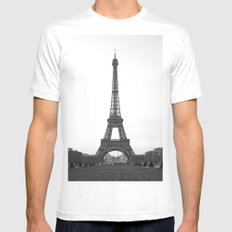 Eiffel Tower in black and white Mens Fitted Tee MEDIUM White