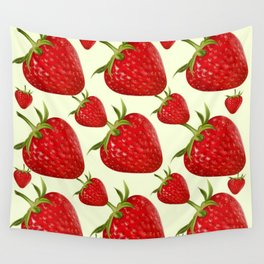 RED STRAWBERRIES PATTERN ART Wall Tapestry