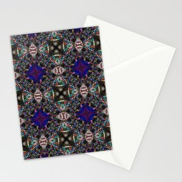 Retro Blue Blossom Fractal Pattern Stationery Cards
