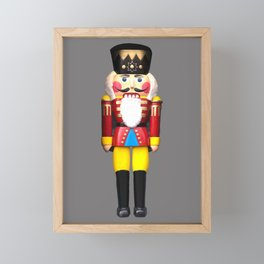 Big Nutcracker - Merry Christmas Design - grey Framed Mini Art Print