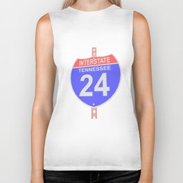 Interstate highway 24 road sign in Tennessee Biker Tank