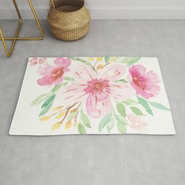 Watercolor Floral Bouquet with copper accents Rug