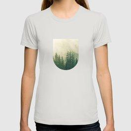 Mountain Foggy Mist Green Trees T-shirt