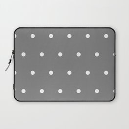 Grey With White Polka Dots Pattern Laptop Sleeve