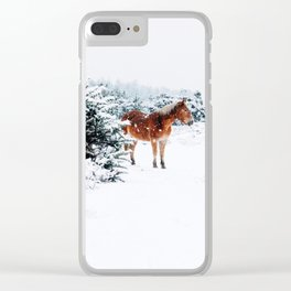 HORSE IN SNOW COVERED FOREST Clear iPhone Case