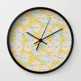Retro Sunny Floral Pattern Wall Clock