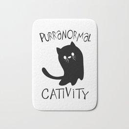 Cat paranormal activities pun gift Bath Mat