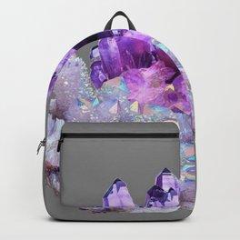 SPARKLY WHITE QUARTZ & PURPLE AMETHYST CRYSTAL Backpack