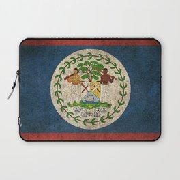 Old and Worn Distressed Vintage Flag of Belize Laptop Sleeve