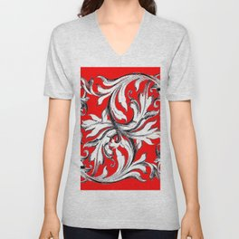 RED & WHITE BAROQUE FLORAL ART Unisex V-Neck