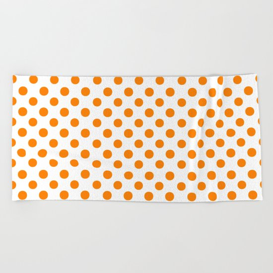Polka Dots (Orange/White) Beach Towel