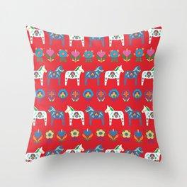 Dala Folk Red Throw Pillow