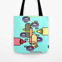 hot dog Tote Bags featuring Hot dog by Jan Luzar