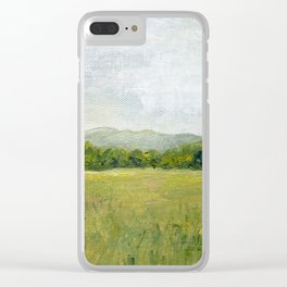 Vermont Landscape Mountain Fields Trees Pastures Oil Painting Clear iPhone Case