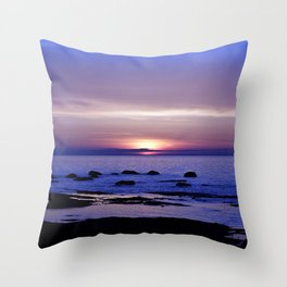 Purple Sunset on the Sea Throw Pillow