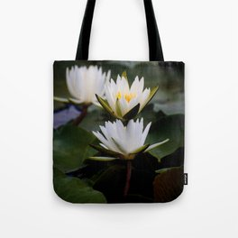 White Lily Flowers In A Pond With Green Lily Pads Tote Bag