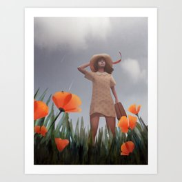 Wind rises in a poppy field Art Print