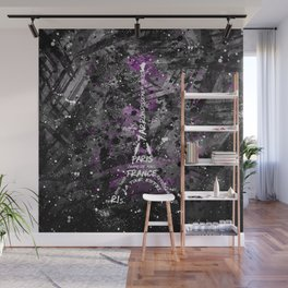 Digital Art Eiffel Tower | pink, black and white Wall Mural