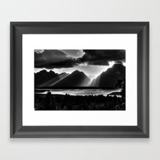 Grand Teton Light Beams Framed Art Print