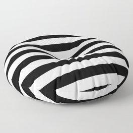 Large Black and White Horizontal Cabana Stripe Floor Pillow