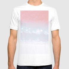 Pink ocean White MEDIUM Mens Fitted Tee