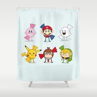 nintendo Shower Curtains featuring Nintendo Treats by Nabhan Abdullatif
