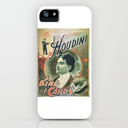 Houdini, king of cards, vintage poster iPhone Case
