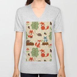 Cute vintage red teal green boho fox butterflies pattern Unisex V-Neck