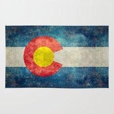 Colorado State Flag Vintage Grunge Rug