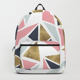 Modern geometrical pink navy blue gold triangles pattern Backpack