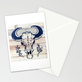 Cow Skull & Florals on Wood Stationery Cards