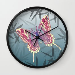 Unique Butterfly Bamboo leaves Pattern Wall Clock