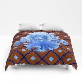 Chocolate Brown & Blue Iris Pattern Art Comforters