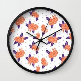 Floral clemson sports college football university varsity team alumni fan gifts purple and orange Wall Clock