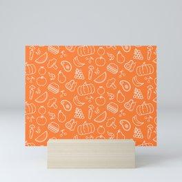Food Art Simple Pattern In Orange Mini Art Print