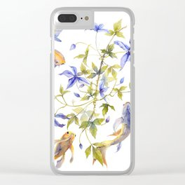 Clematis and Koi Fish Water Magic Clear iPhone Case