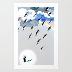 Rain rainbow clouds penguins Art Print