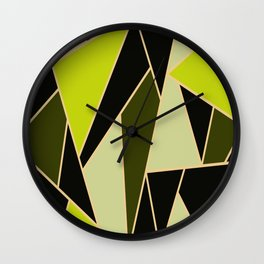 Triangles of oil colors  Green oily  Oil colors  Green color derivatives Yellow to green Wall Clock