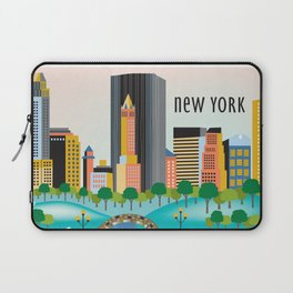 New York City, New York - Skyline Illustration by Loose Petals Laptop Sleeve