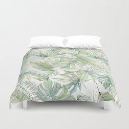 Green Tropical Leaves Duvet Cover