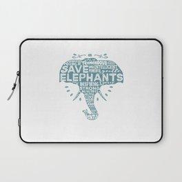 Save Elephants - Word Cloud Silhouette Laptop Sleeve