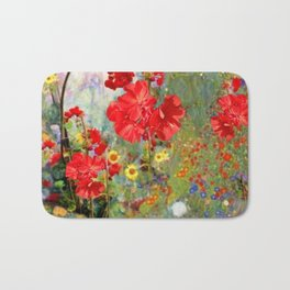 Red Geraniums in Spring Garden Landscape Painting Bath Mat