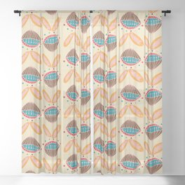 Mid Century Beige Floral Pattern Sheer Curtain