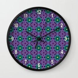 Dark Dahlia Pattern Wall Clock